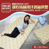 【KOTAS】日本超人氣 3D可水洗專利抗菌透氣床墊-單人(咖)