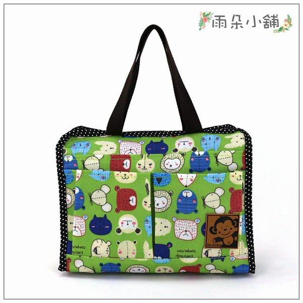 袋中袋 包包 防水包 雨朵小舖M235-327 小精靈收納袋-綠生肖玩偶08122 funbaobao