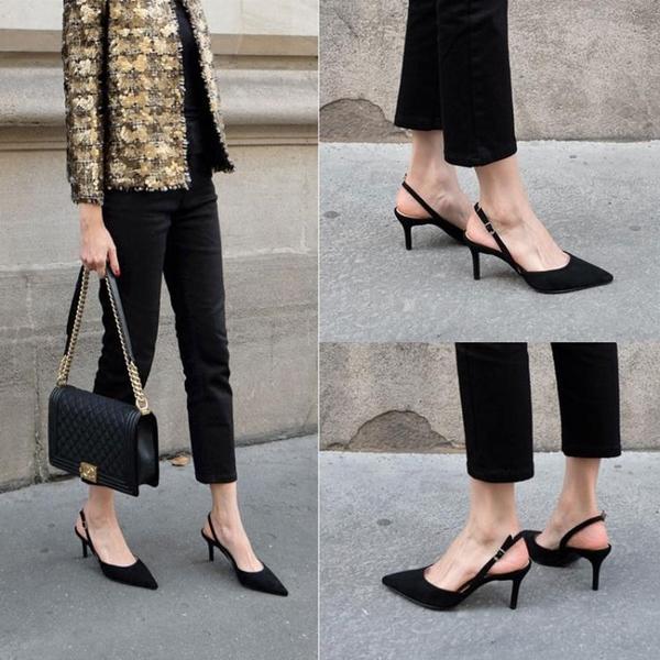 早春尖頭女單鞋性感細跟高跟鞋側空一字扣帶百搭細帶涼鞋    蘑菇街小屋