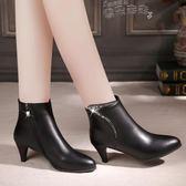 細跟短靴秋冬季細跟短靴尖頭女鞋水鉆真皮女靴子中跟裸靴馬丁靴 【四月特賣】