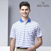 范倫鐵諾城市休閒機能涼感POLO衫 - 藍/卡其條紋