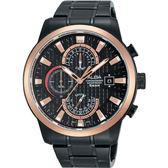 ALBA 雅柏 限定潮流計時手錶-黑x玫瑰金框/45mm VD57-X051SD(AM3164X1)