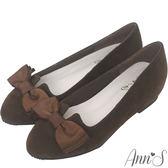 Ann'S優雅輕甜-織帶蝴蝶結V口內增高娃娃鞋-咖