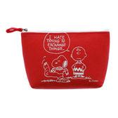 SNOOPY美式生活系列刺繡鑲飾不織布化妝包(紅)★funbox★sun-star_UA54462