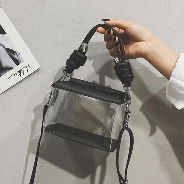 女包新款韓版洋氣透明小方包休閑透明盒子塑料單肩斜挎手提包