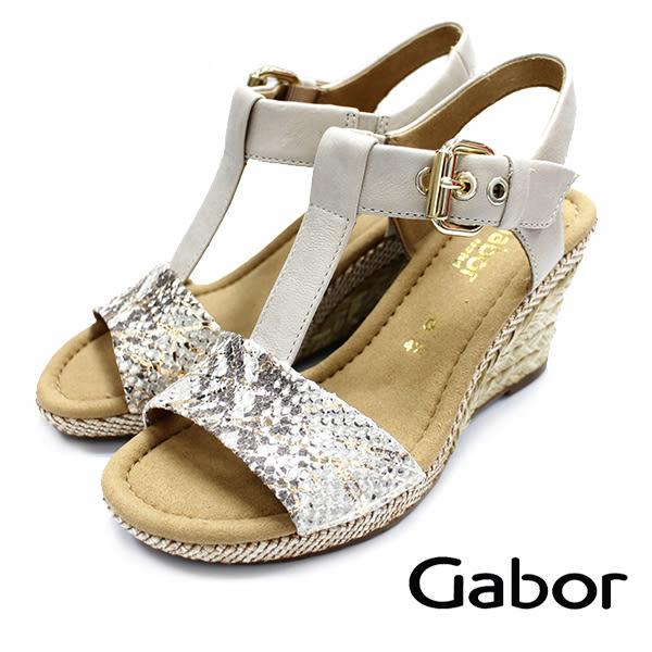 【超低價】GABOR T字型高雅楔型涼鞋 蛇紋 62.824.21 女鞋