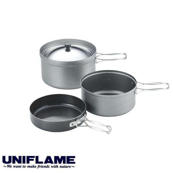 【UNIFLAME 日本 飯鍋煎鍋三件組(附袋)】667613/套鍋/露營炊具/鍋具/登山