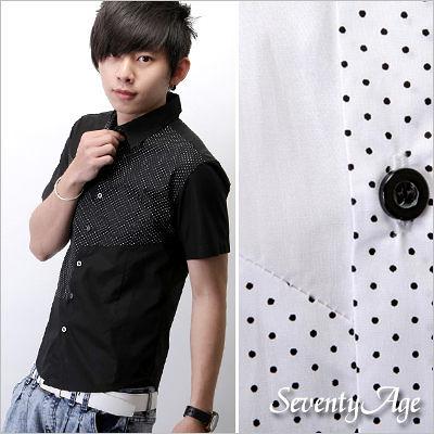 ∥柒零年代∥Remarkable【N7374J】韓版雜誌單品型男水玉圓點拼接短版合身襯衫(HO1699)