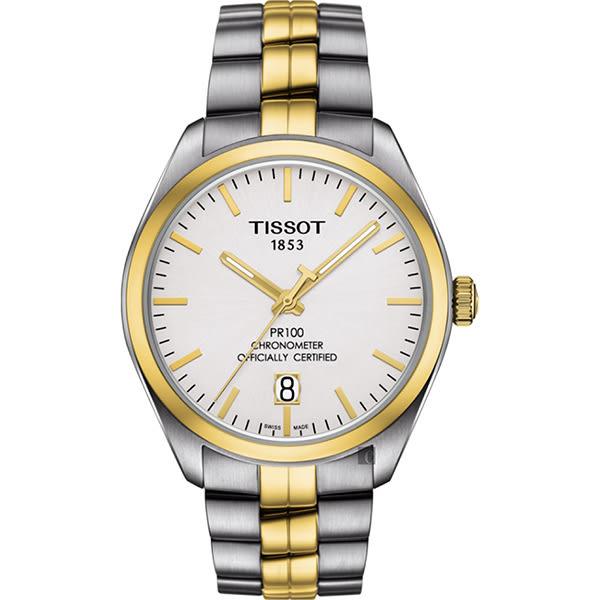 TISSOT 天梭 PR100 Powermatic 80 天文台機械手錶-銀x雙色/39mm T1014082203100