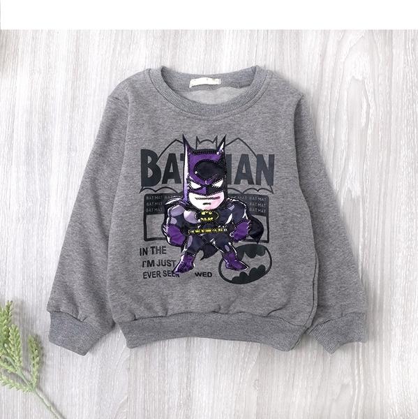 淺灰 純棉 LED發光蝙蝠俠造型縮口棉T 不倒絨 發光 帥氣 男童上衣 厚 兒童長袖 冬童裝