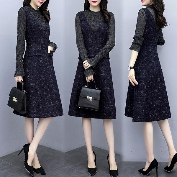 兩件套 連身裙春秋女新款M-2XL時尚氣質顯瘦馬甲洋氣減齡連身裙子兩件套GD363-C.6952 胖丫