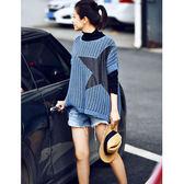無袖針織衫女 五角星貼布毛衣 落肩寬鬆馬甲-夢想家-Z6003-0911