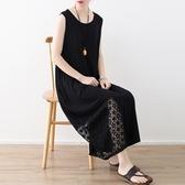 洋裝-長款寬版優雅蕾絲拼接無袖女連身裙73sm45【巴黎精品】