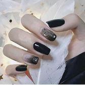 指甲貼片黑色星月美甲成品甲片