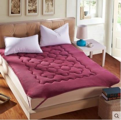 珊瑚絨榻榻米床墊加厚1.5m1.8米保暖雙人床褥子單人墊被【玫紅(床墊)】1.35m(4.5英尺)床