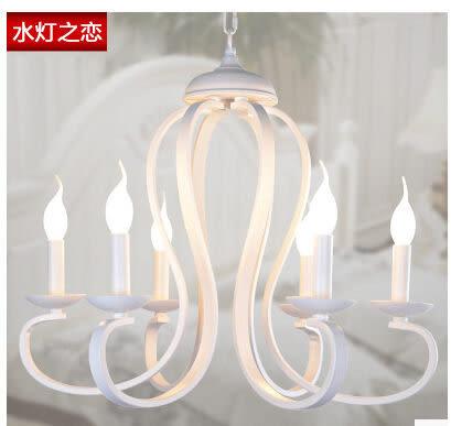 設計師美術精品館韓國式現代簡約創意個性美式田園美式燈臥室餐廳鐵藝蠟燭6頭吊燈