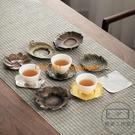 日式杯托合金茶杯墊隔熱墊仿銅杯墊 復古功夫茶托茶道【輕派工作室】