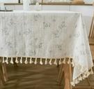 宜家►丁香花棉麻布藝餐桌布 (90*90cm) 小清新田園風茶几布 隔熱墊 桌巾