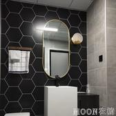 鏡子 北歐古典鐵藝橢圓形壁掛鏡美式浴室鏡玄關鏡裝飾鏡衛浴臥室梳妝鏡 moon衣櫥 YYJ