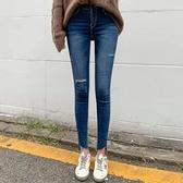 韓國秋冬腰圍彈性鬆緊設計牛仔鉛筆褲 花漾小姐【預購】