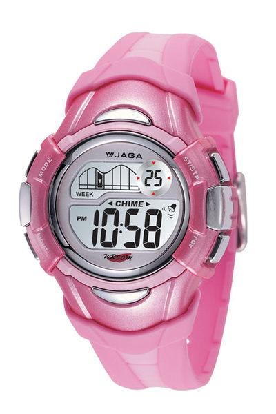 JAGA 捷卡 多功能電子錶 休閒錶 34mm 防水手錶 冷光照明功能 清楚時間判讀 女錶/學生錶 M628-G 粉紅