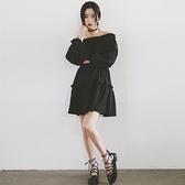 洋裝-情人節穿搭一字領韓版復古寬鬆純色連身裙2色73ha14[巴黎精品]