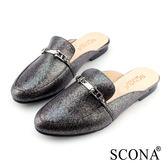 SCONA 蘇格南 全真皮 復古知性半包式懶人鞋 古銅色 22602-1