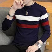 青少年秋季針織衫男式正韓修身條紋毛線衣潮男裝圓領套頭薄版毛衣