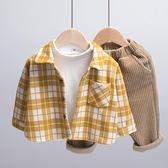 男童春裝2021新款格子兒童襯衫外套加厚呢絨韓版寶寶襯衣春秋洋氣 艾瑞斯