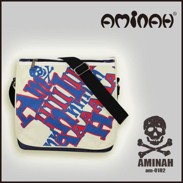 美式風格 骷髏頭 字母側背包 / 斜背包 / 郵差包 淺綠配紅 AMINAH~【am-0182】