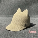 草帽 棒球帽草帽子女夏天 萌爆貓耳朵女士夏季出游草帽女鴨舌帽遮陽帽 2色