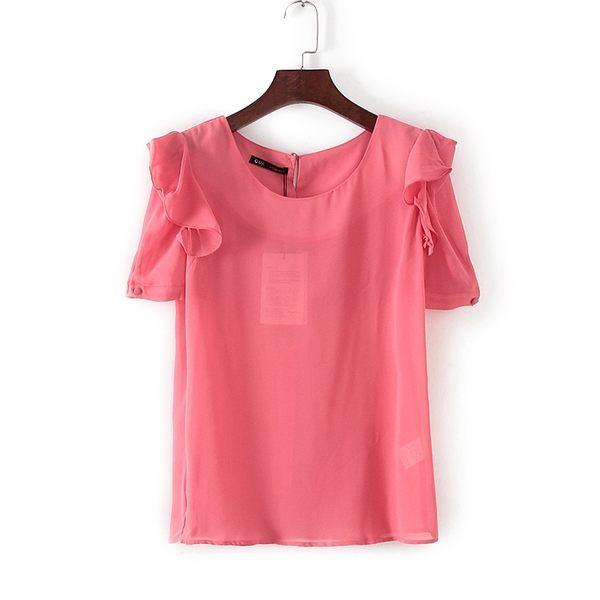 [超豐國際]娃春夏裝女裝珊瑚色荷葉袖糖果色雪紡衫 31111(1入)