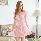 969情趣~大尺碼Annabery粉紅緹花蕾絲小蓋袖二件式性感睡衣