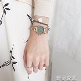 手錶女法國輕奢小眾手錶女ins風少女學生森繫學院風小香鍊條小綠錶 伊莎gz