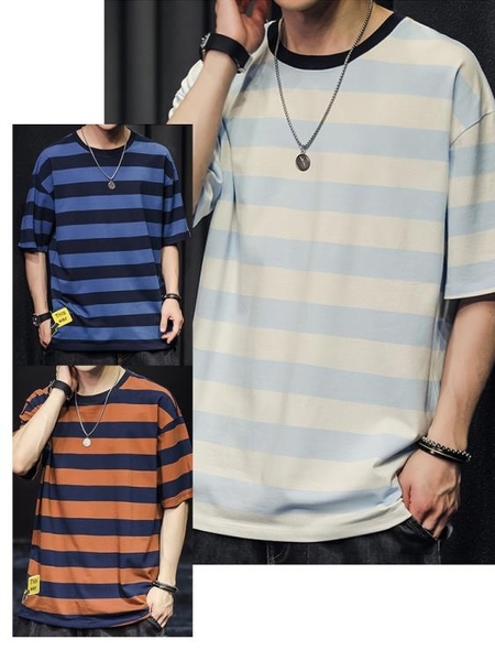 條紋t恤短袖男士夏季2021新款寬鬆ins潮牌百搭寬鬆半袖體恤衫衣服 黛尼時尚精品