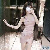 歐美風2020夏季新款夜店性感v領露腰顯瘦禮服包臀連身裙子 FX4731 【野之旅】
