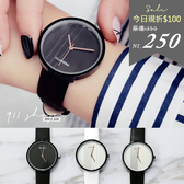 Pearl.REBIRTH品牌。簡約素面光澤直線質感皮革錶帶手錶【ta581】*911 SHOP*