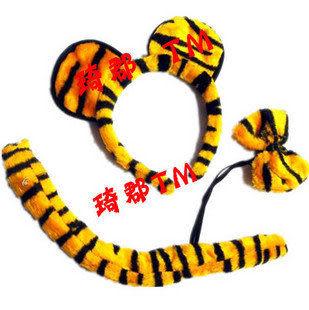 cos裝扮 卡通頭飾動物 耳朵老虎3件套