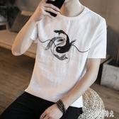 中國風男裝麻料衣服復古風寬鬆大尺碼棉麻亞麻短袖圓領t恤上衣CC3352『美好時光』