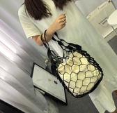 網編提袋 創意編織網兜復古鏤空漁網包網袋手提雜物購物袋 綠光森林