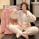 睡衣 睡衣女春2021新款韓版珊瑚絨加厚可外穿可愛甜美家居服保暖套裝【快速出貨八折搶購】