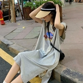 港風ins超火無袖T恤女2020夏韓版寬鬆原宿bf學生長款過膝上衣服 貝芙莉