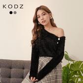 東京著衣【KODZ】優雅氛圍側領釦落肩磨毛上衣/毛衣(191985)