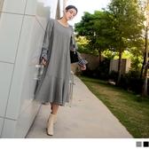 《DA7069-》造型長袖格紋點綴波浪裙襬長洋裝 OB嚴選