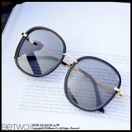 彼兔 betwo.太陽眼鏡 QEC*百搭黑框金邊鏡面鏡片造型太陽眼鏡墨鏡【1390-AJ87】06090036現貨