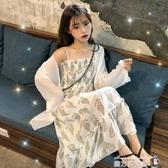 2020夏季新款收腰顯瘦碎花吊帶裙超仙雪紡洋裝學生氣質仙女裙子魔方