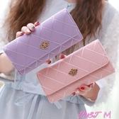 新款女士錢夾女長款日韓版多功能菱格皇冠搭扣學生皮夾錢夾 雙12搶購