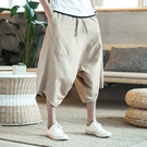 飛鼠褲泰國沙灘褲休閒亞麻短褲男裝中國風寬鬆大襠七分垮褲薄款闊腿褲夏 韓國時尚週
