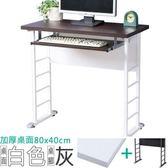 Homelike 查理80x40工作桌(加厚桌面-附鍵盤架)桌面-白/桌腳-炫灰