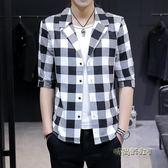 夏季薄款七分袖小西裝男士2019新款韓版修身格子半袖襯衫男外套潮「時尚彩虹屋」